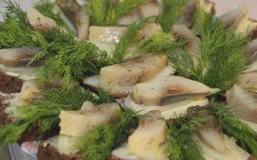 "Russian open sandwich with ""seledka"" (lightly salted fish)"